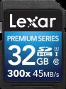 Lexar Premium Series 300x SDHC UHS-I - Speicherkarte - Kapazität 32 GB - Schwarz