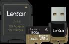 Lexar Professional 1800x microSDXC UHS-II + SD-Adapter und Leser - Speicherkarte - Kapazität 64 GB - Schwarz/Gold