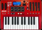 AKAI MAX25 - Keyboard Controller - Mit 25 leicht gewichteten Tasten und 8 MPC Pads - Rot