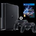 Sony PS4 Slim + Star Wars Battlefront II (DLC) + Dualshock 4 Controller - Console - 1 TB HDD - Nero