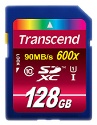 Transcend Ultimate series Carte mémoire flash, 128 Go, 600x