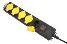 S-Electro Steckdosenleiste IP44 5 x T.13, schwarz/gelb