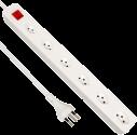 S ELECTRO presa multipla con cavo 6xT.13 prese trasversali, interruttore, bianco