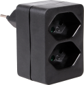 S ELECTRO Abzweigstecker 2 x Typ 13, schwarz