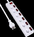S ELECTRO Steckdosenleiste 6xT.13 quer, einzel Schalter, weiss