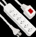 S ELECTRO presa multipla con cavo 6xT13, interruttore a spia separato, bianco
