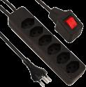 S ELECTRO Steckdosenleiste 6xT13, mit sep. Leuchtschalter, schwarz