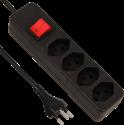 S ELECTRO Steckdosenleiste 4xT.13, mit Schalter, schwarz