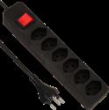 S ELECTRO Steckdosenleiste 6xT.13, mit Schalter, schwarz