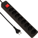 S ELECTRO Steckdosenleiste 8xT.13, mit Schalter, schwarz