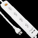 S ELECTRO Steckdosenleiste Quer 4xT.13, 2x1A USB, weiss