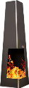 NOMLILO Clarita S - Gartenkamin - Bis zu 650 °C feuerfest - Schwarz
