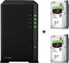 Synology DiskStation DS218play - NAS-Server - 2x 2 TB Seagate IronWolf Festplatte - Schwarz
