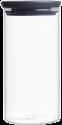 brabantia Stapelbarer Glasbehälter, 1.1 l, dunkelgrau