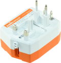 jupio PowerVault 3000 Travel Adapter - Reisestecker mit Powerbank - 3'000 mAh - orange/weiss