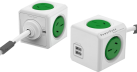 Allocacoc PowerCube Extended USB - Prise de dérivation - 2,1 A - Vert