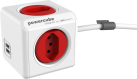 Allocacoc PowerCube Extended USB - 4x T.13, 2x USB 5V, 2.1A - rot