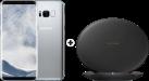 SAMSUNG Galaxy S8 - Android Smartphone - 64 GB - Arctic Silver + SAMSUNG EP-PG950 - Ladestation - Mit Schnellladefunktion - Schwarz