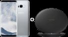 SAMSUNG Galaxy S8+ - Android Smartphone - 64 GB - Arctic Silver + SAMSUNG EP-PG950 - Ladestation - Mit Schnellladefunktion - Schwarz