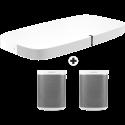 SONOS Playbase - Soundbar - Wi-Fi +  2 Stück SONOS PLAY:1 - Multiroom Lautsprecher - Wireless - Weiss