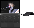 Microsoft Surface Pro + Arc Mouse (Schwarz) + Type Cover (Schwarz)