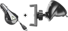cellularline Roller Car Charger - micro USB - Noir + cellularline Pilot Pro - Support voiture - Pour smartphones Samsung jusqu'à 6.3 - Noir