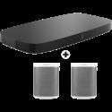 SONOS Playbase - Soundbar - Wi-Fi - schwarz + 2 Stück SONOS Play: 1, weiss