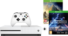 Microsoft Xbox One S + Assasins Creed DLC - 500 GB - Weiss + Star Wars: Battlefront 2, Xbox One, multilingual
