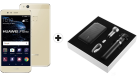 HUAWEI P10 lite - Téléphone intelligent Android - Dual-SIM - Or + Huawei Powerbox - Blanc