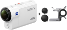 SONY FDR-X3000R - Actioncam - 4K - weiss + SONY AKA-FGP1