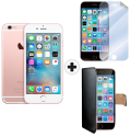 Apple iPhone 6s - iOS Smartphone  - 16 GB - Roségold + celly WALLY für Apple iPhone 6 / 6s, schwarz + celly SBF600