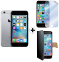Apple iPhone 6s - Smartphone - 16GB - Space Grau + celly WALLY für Apple iPhone 6 / 6s, schwarz + celly SBF600