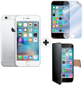 Apple iPhone 6s - iOS Smartphone - 16 GB - Silber + celly WALLY für Apple iPhone 6 / 6s, schwarz + celly SBF600