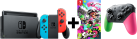 Nintendo Switch + Splatoon 2 - Rot/Blau + Nintendo Switch Controller Pro - Splatoon 2 Edition - Grau/Pink/Grün