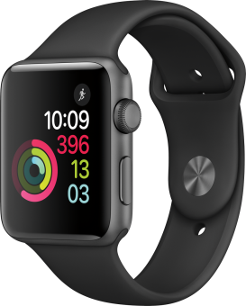 Apple Watch Series 2 - Aluminiumgehäuse, Space Grau mit Sportarmband - 42 mm - Schwarz