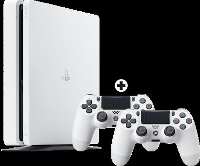 Sony PS4 Slim inkl. 2. Controller - Spielkonsole - 500 GB HDD - Weiss