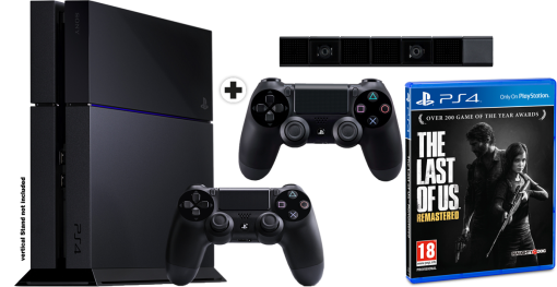 Sony PlayStation 4 500GB, nero + 2. Controller + PS4 Eye Camera + The Last of Us Remastered