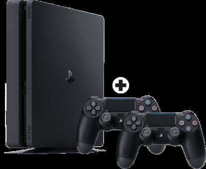 Sony PS4 Slim inkl. 2. Controller - Spielkonsole - 500 GB HDD - Schwarz