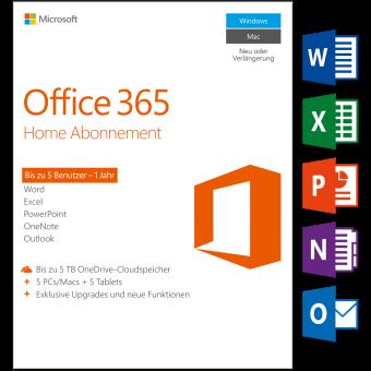 Microsoft Microsoft Office 365 Homel, PC / Mac, 5 utilisateurs Logiciel