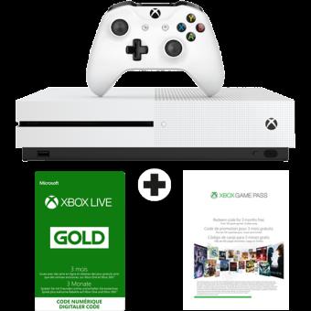 Microsoft Xbox One S - Console de jeu - 500 Go - Blanc + Xbox Live Gold (3m) + Xbox Game Pass (3m) Système de divertissement tout-en-un Blanc