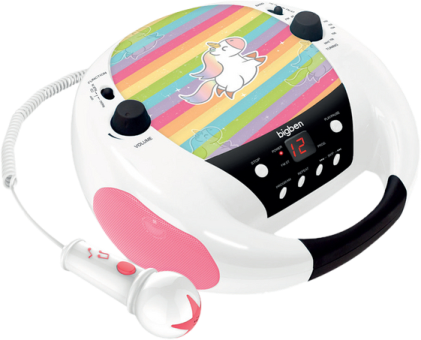 bigben CD-Radio CD52 Unicorn - Lecteur radio CD portable avec micro - Désign Licorne - Blanc