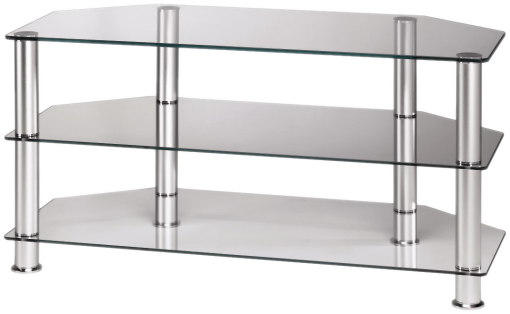 hama meuble audio vid o verre transparent argent tv racks acheter bas prix media markt. Black Bedroom Furniture Sets. Home Design Ideas
