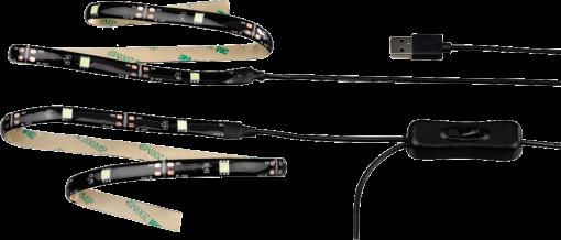 hama led band tv relax mit usb anschluss weiss 2x 50 cm g nstig kaufen led streifen. Black Bedroom Furniture Sets. Home Design Ideas