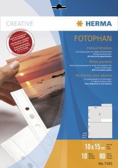 HERMA Pochettes Fotophan - 10 x 15 cm - Blanc/Transparent