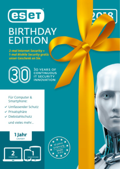 ESET Birthday Edition V2018 (2x PC+ 1x Android) (FFP) [Versione tedesca]