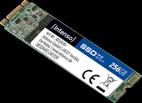 Intenso M.2 SSD SATA III TOP - Interne Festplatte SSD - Kapazität 256 GB - Schwarz/Grün