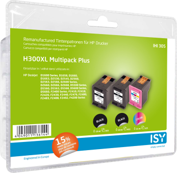 ISY IHI-305 - Tintenpatronen - Kompatibel zu: HP 300XL - Schwarz/Cyan/Magenta/Gelb
