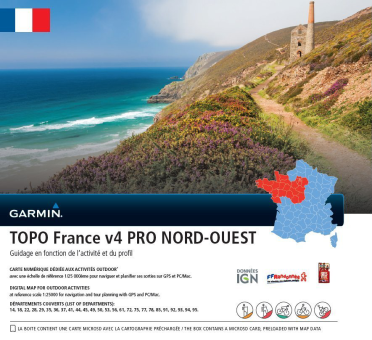 GARMIN TOPO France v4 PRO - Nord Ouest (Nordwesten) - Karte für Navigation - In MicroSD/SD-Speicherkarte - Bunt