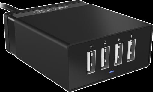ICYBOX IB-CH402 - 4-Port caricabatterie rapido - USB - Nero