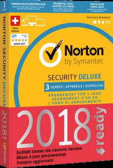 Symantec Norton Security 3.0 Deluxe - 3 Lizenzen, PC/MAC, multilingual